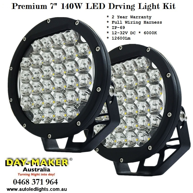 Premium 7 Inch 140W LED Driving Light Kit Ready to Install | Auto ...